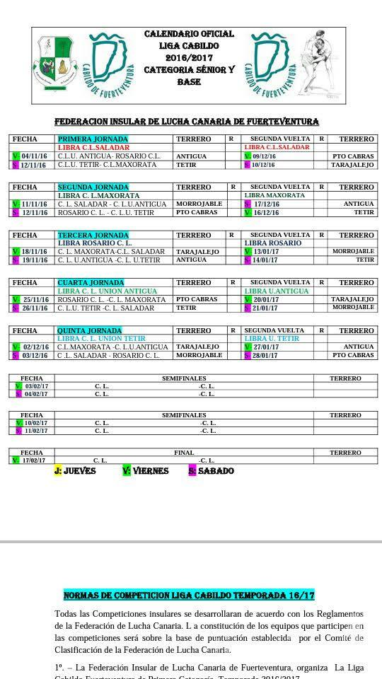 Calendario Liga Cabildo de Fuerteventura 1ª Categoría