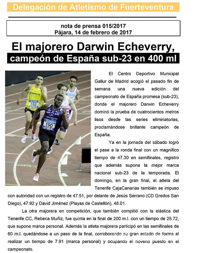 El majorero Darwin Echeverry campeón de España Sub-23