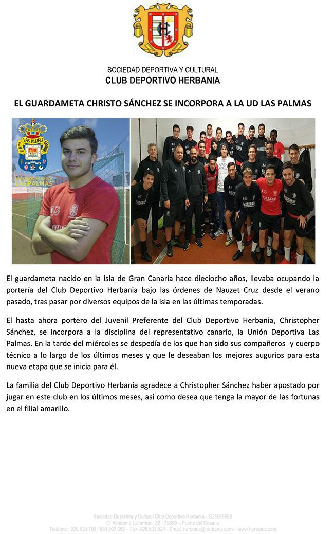 Christopher Sánchez, portero del juvenil preferente del Club Deportivo Herbania se incorpora a la cadena de filiales de la Unión Deportiva Las Palmas