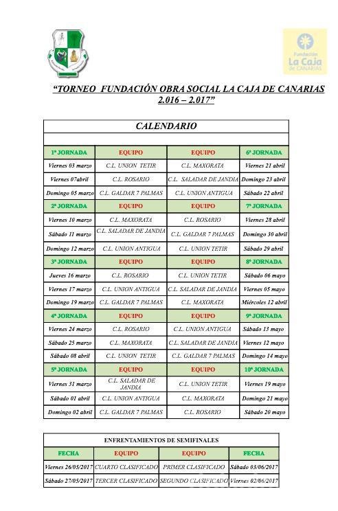 """Calendario Copa de Fuerteventura """"Obra Social La Caja"""" 1ª categoría"""
