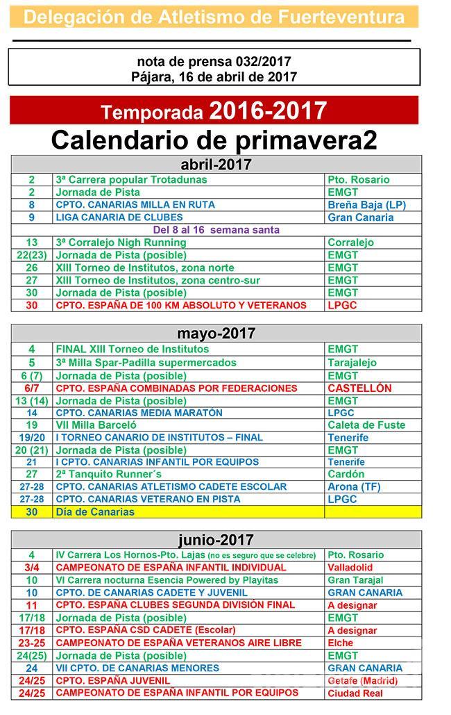 Calendario atlético de primavera 2 de FV