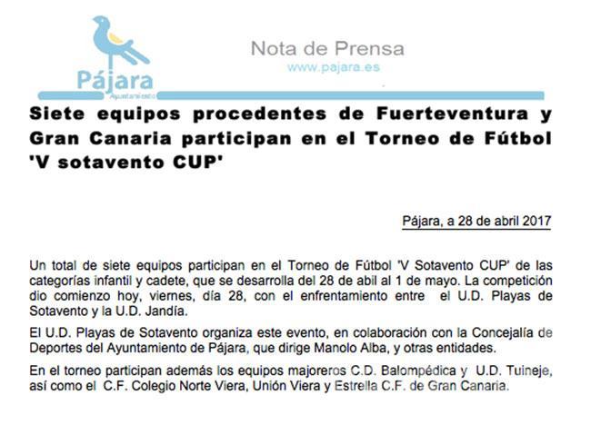 """Torneo Fútbol """"V Sotavento Cup"""""""
