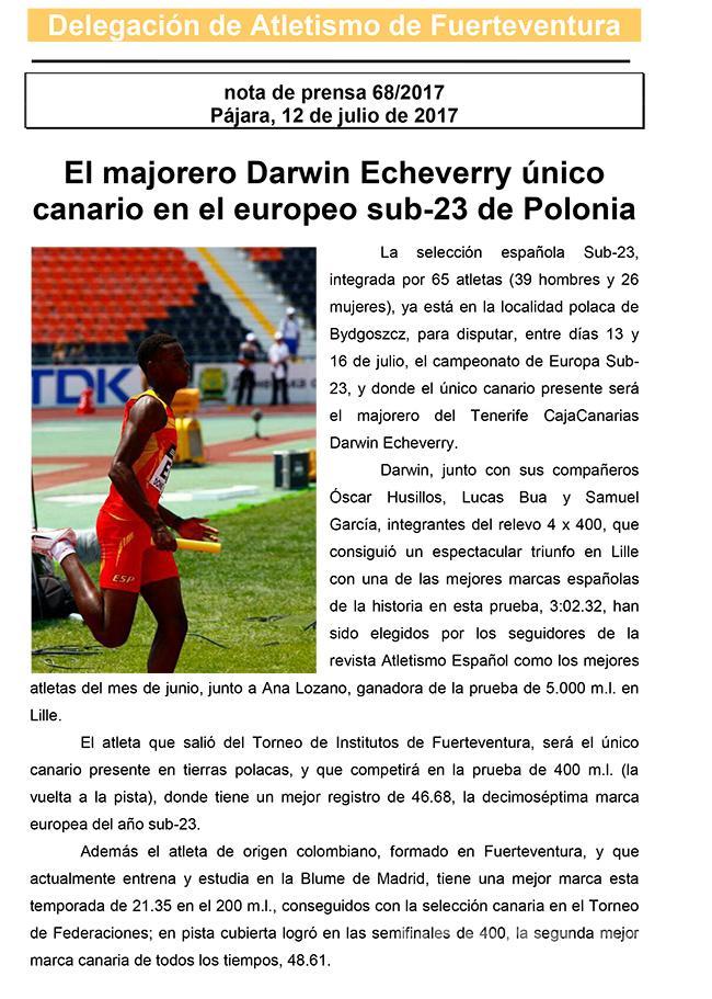 El Majorero Darwin Echeverry Único Canario en el Europeo Sub-23