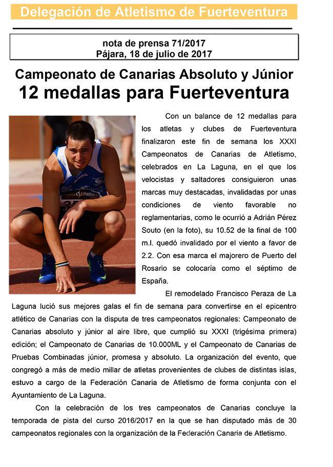 12 medallas para Fuerteventura en el regional de pista