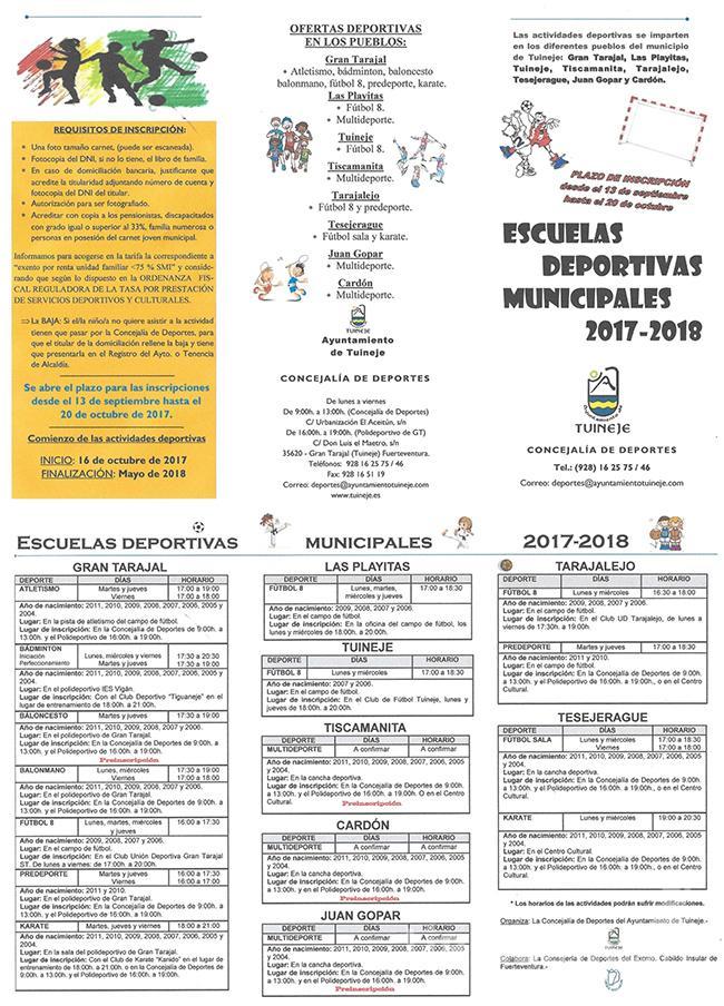 Cartel Escuelas Deportivas Municipales Tuineje