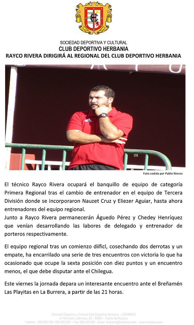 Rayco Rivera dirigirá al regional del CD Herbania
