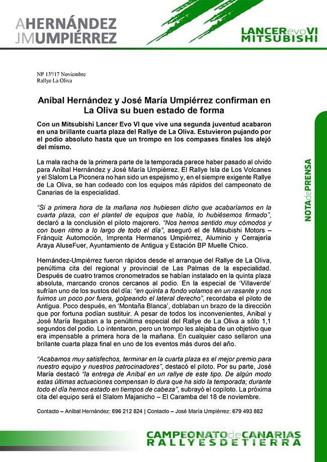 Aníbal Hernández y José María Umpiérrez confirman en La Oliva su buen estado de forma