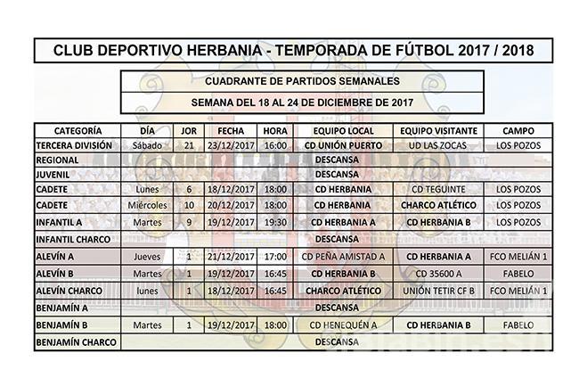 Cuadrante de partido de fútbol del 18 al 24 de diciembre