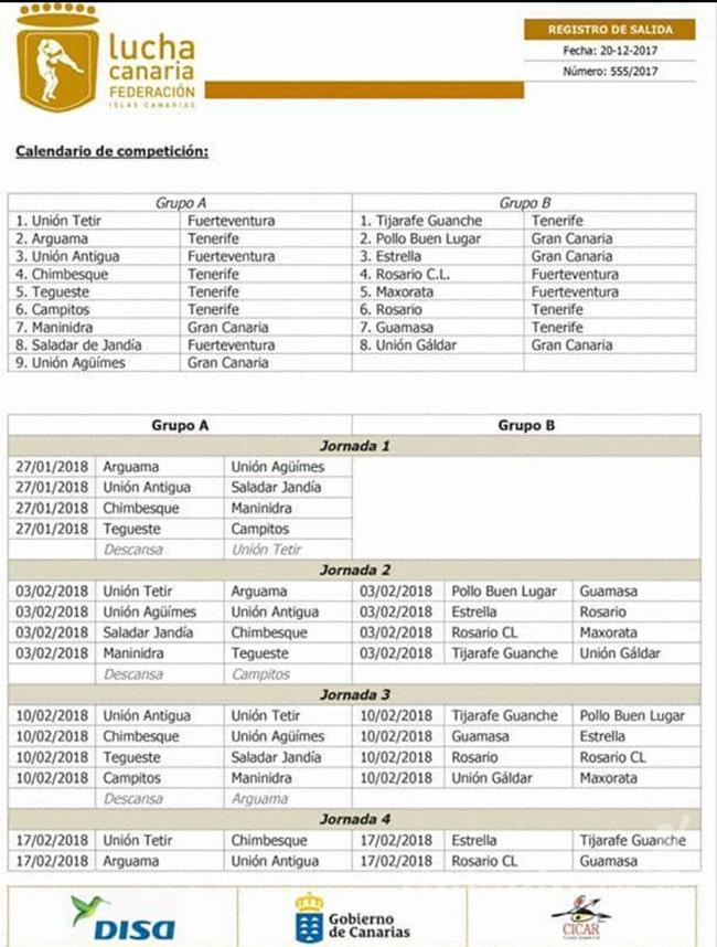 Calendario Liga Regional 1ª Categoría