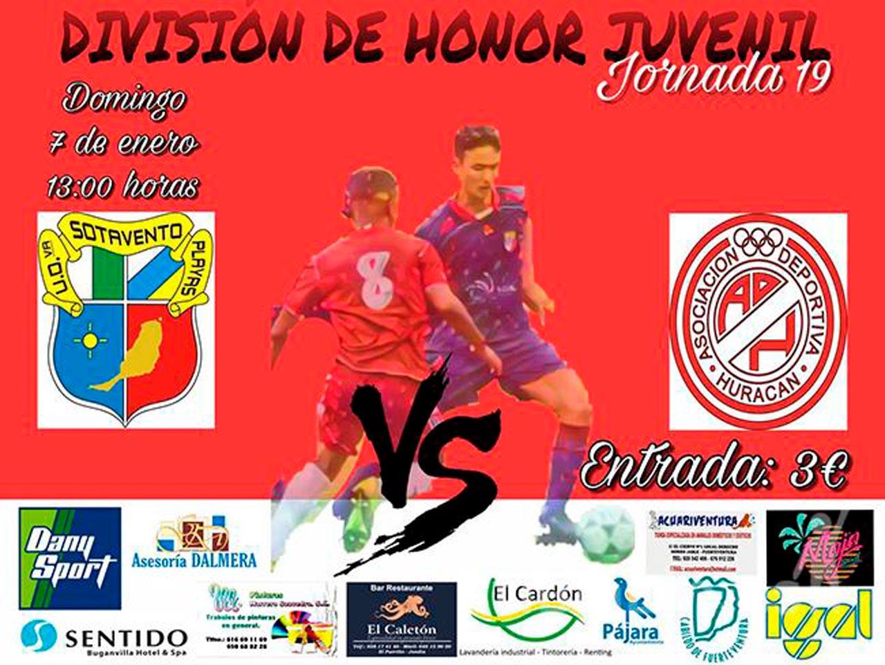 Cartel Sotavento – Huracán (División de honor juvenil)