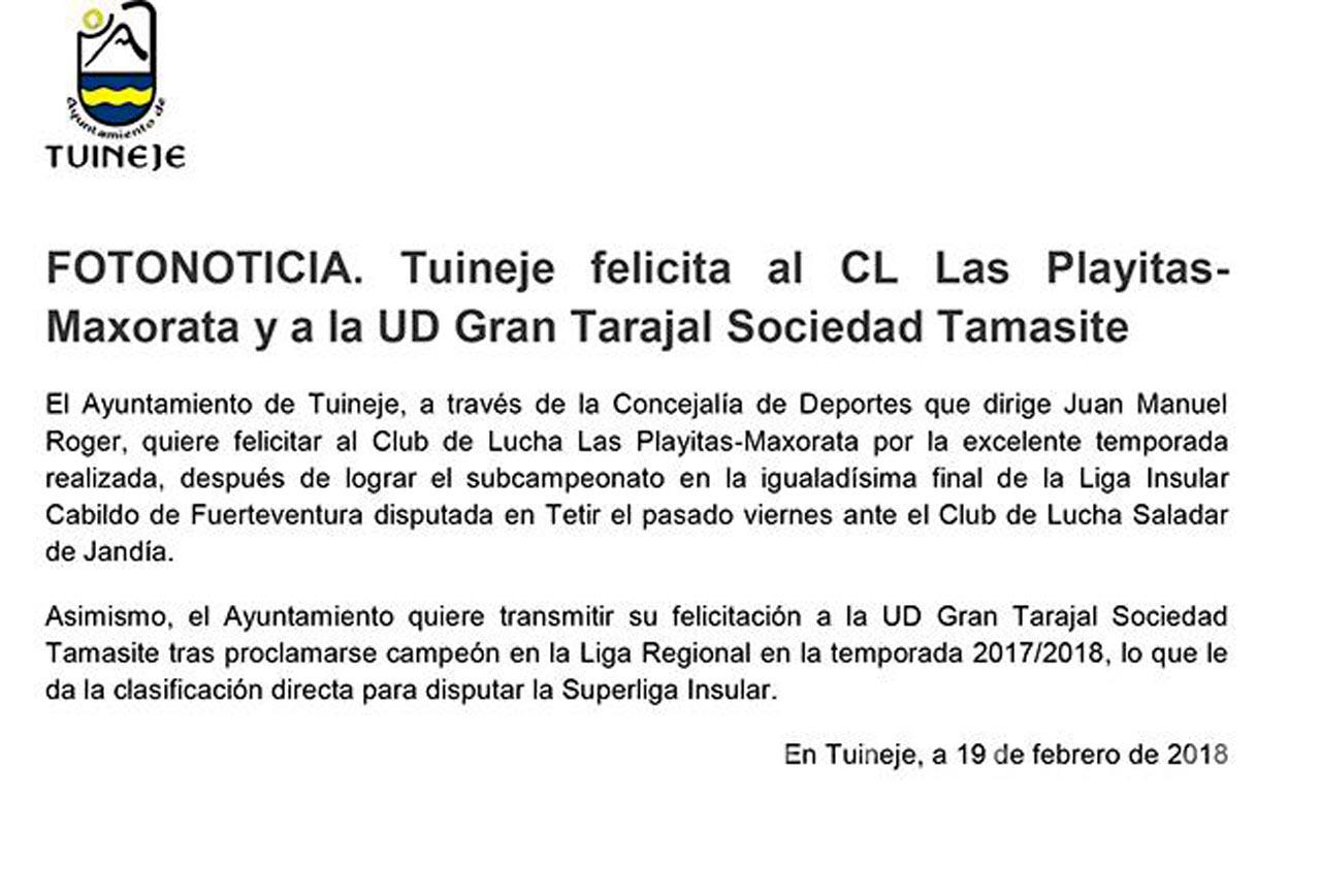 Fotos felicitación CL Las Playitas-Maxorata y Ud Gran Tarajal Sociedad Tamasite