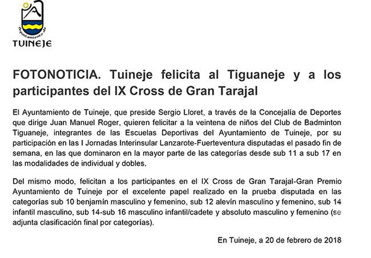 Tuineje felicita al Tiguaneje y a los participantes del IX Cross de Gran Tarajal
