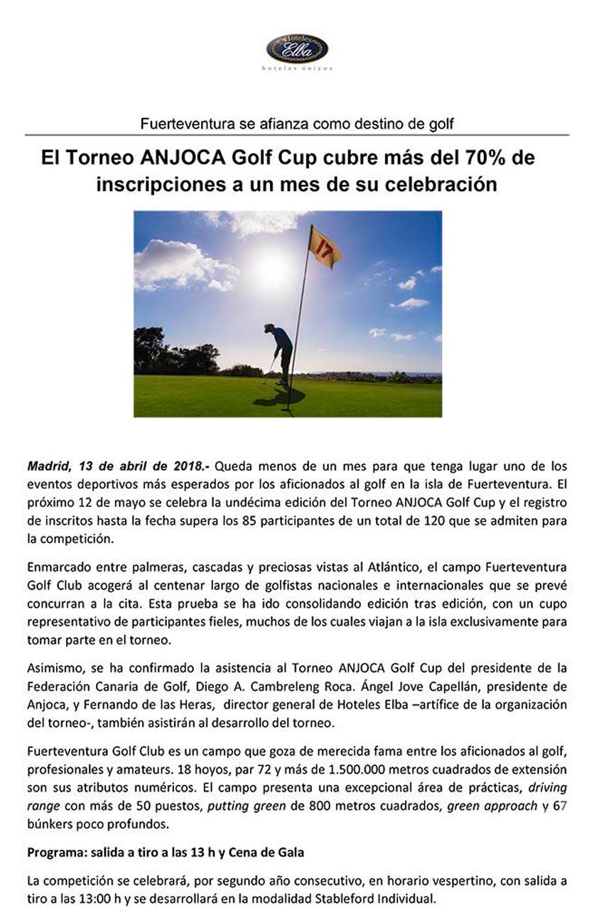 El Torneo ANJOCA Golf Cup cubre más del 70% de inscripciones a un mes de su celebración