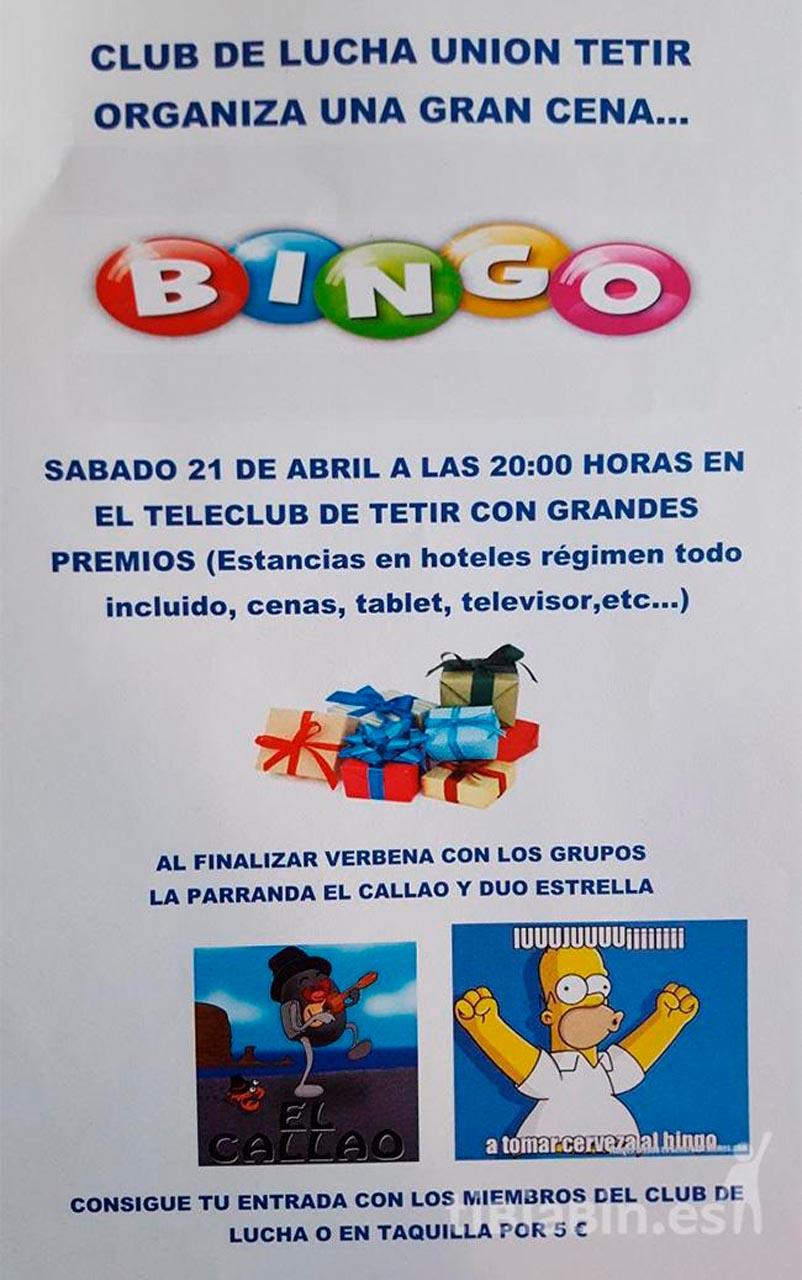 Cartel Bingo CLU Tetir