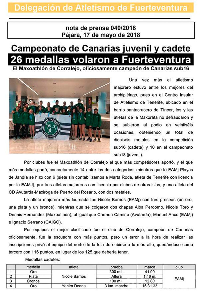 26 medallas volaron a Fuerteventura